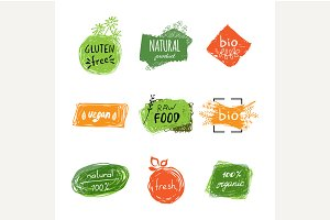 Set of bio, organic labels.