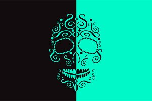 Skull vector two colors neon