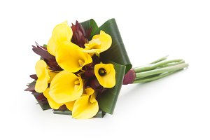 Yellow callas bridal bouquet