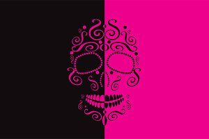 Skull vector two colors pink