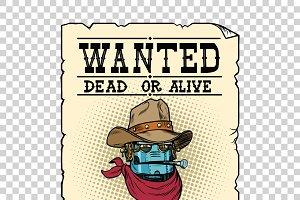 Steampunk robot cowboy wild West