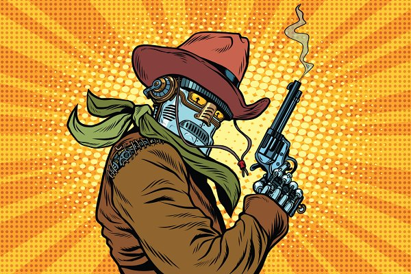Steampunk robot cowboy