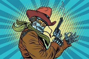 Robot cowboy wild West, OK gesture