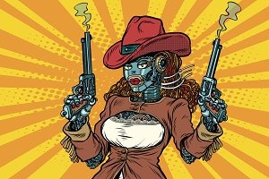 Robot woman gangster steampunk