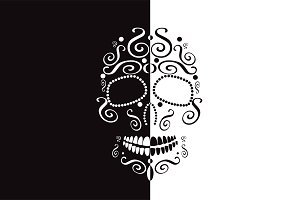 Skull vector two colors white