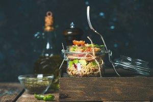 Healthy homemade jar quinoa salad