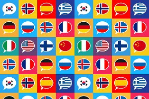 Speech bubbles with countries flags