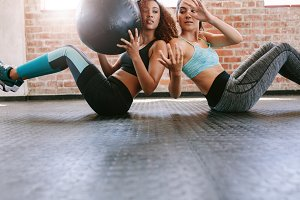 Girls working out in gym