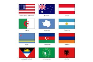 World Flags Set. A country name.