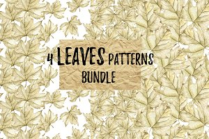 Watercolor autumn leaves 4 patterns