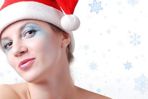 woman in a santa hat