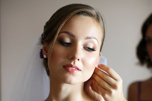 Bride looks dreamily