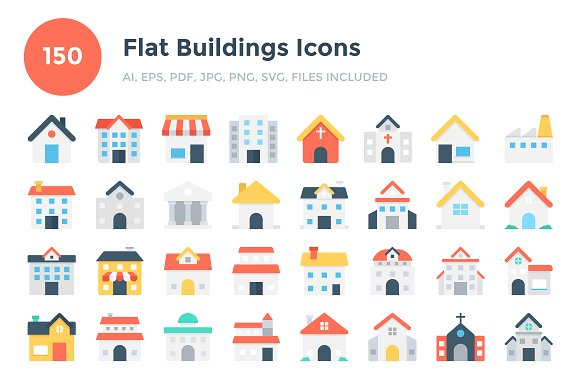 150 Flat Buildings Icons