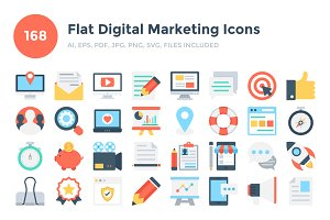 168 Flat Digital Marketing Icons