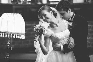 Groom holding a pretty bride