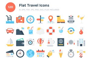 120 Flat Travel Icons