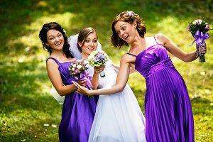 Gracious bride and bridesmaids