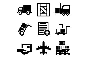 Shipping, Cargo, Warehouse Icons