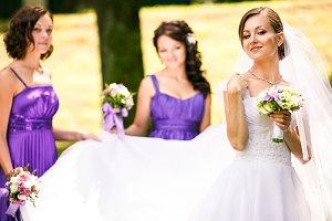 Bride looks proud
