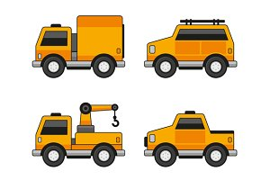 Orange Car Icons Set