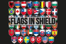 Pack of Shields with Flags.
