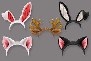Cat, rabbit, deer antler ears mask