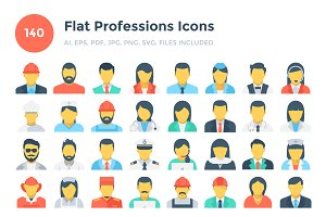 140 Flat Professions Icons