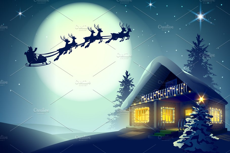 Santa Claus and reindeer flying