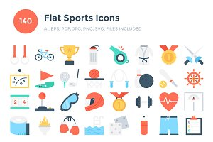 140 Flat Sports Icons