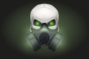 Skull with respirator