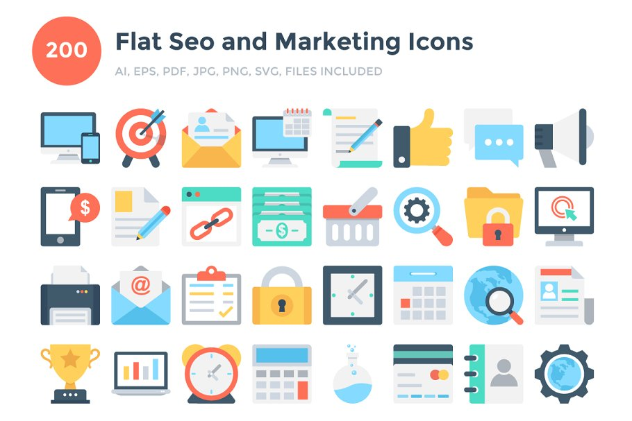 200 Flat Seo and Marketing Icons