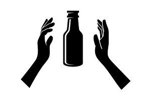 Beer Bottle in the Hands