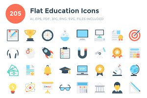 205 Flat Education Icons