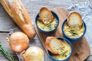 Bowls of onion soup