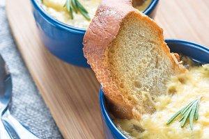 Bowls of onion soup