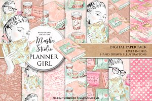 PLANNER GIRL digital paper