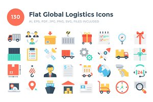 130 Flat Global Logistics Icons