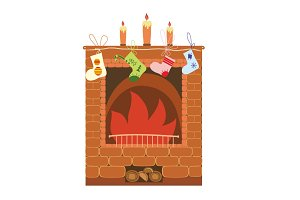 Christmas socks on fireplace vector