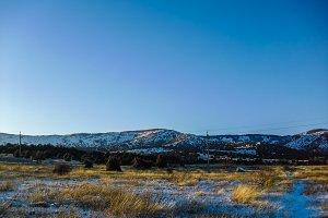 Winter mountain blue sky landscape