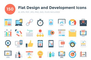 150 Flat Design & Development Icons