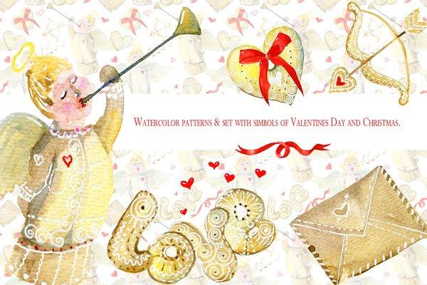 Watercolor simbols of Valentines Da…