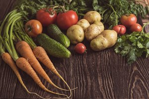 freshly grown raw vegetables