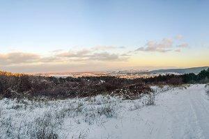 Colorful winter panorama in Crimea