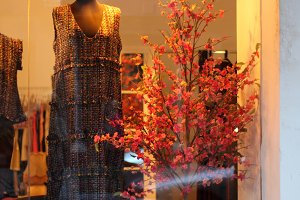 Window with dressed mannequin