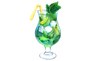 Watercolor mojito cocktail vector