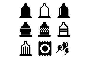 Condom Icons Set