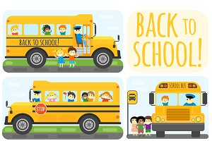 Travel automobile school bus vector