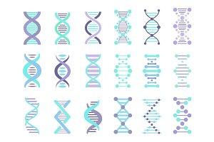 DNA Strands Vector Set