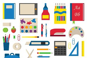 Vector individual school supplies
