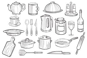 Kitchen Utensils hand drawn style